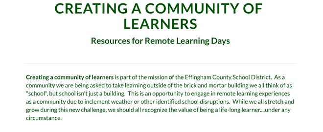 Resources for Remote Learning Days