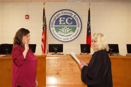 Lynn Anderson (District 1) and Beth Helmly (District 4) were sworn in to serve as board members for the Effingham County Scho