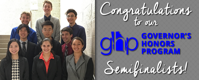 Ten Students Selected as Govenor's Honor Semifinalists