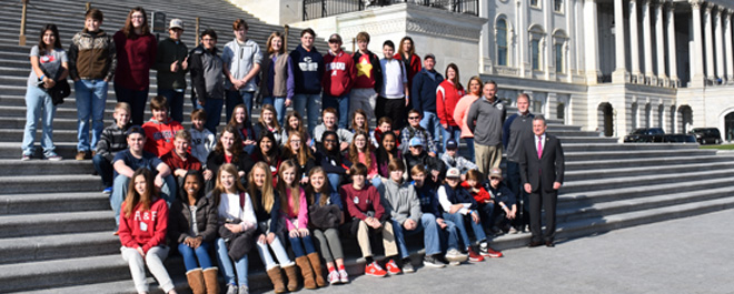 Students met with Congressman Buddy Carter at a meet-and-greet session held on the Capitol steps.