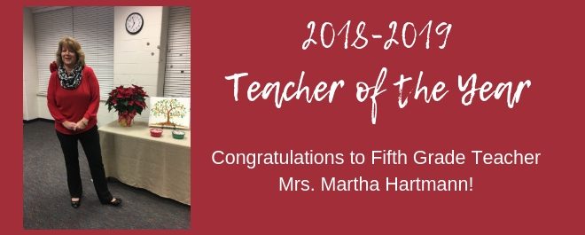 Mrs. Hartmann is our Teacher of the Year!
