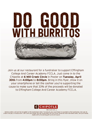FCCLA Fundraiser with Chipotle