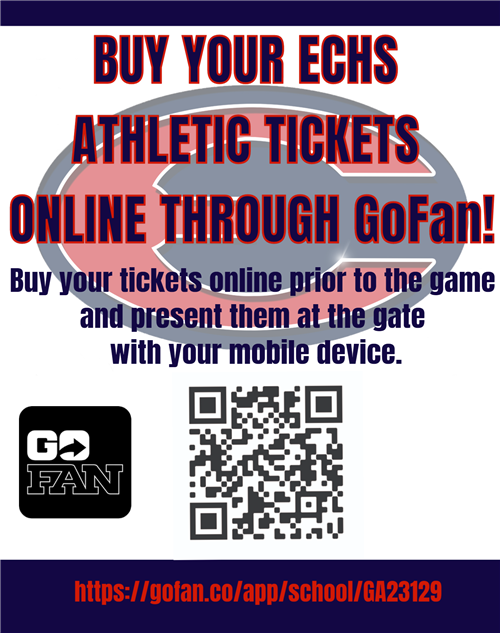 If you would like to purchase tickets for an ECHS Athletic Event just scan the QR code below and follow the instructions.