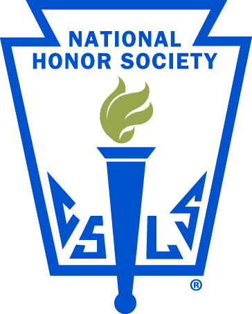 A blue torch is topped by a gold flame. This is captioned National Honor Society