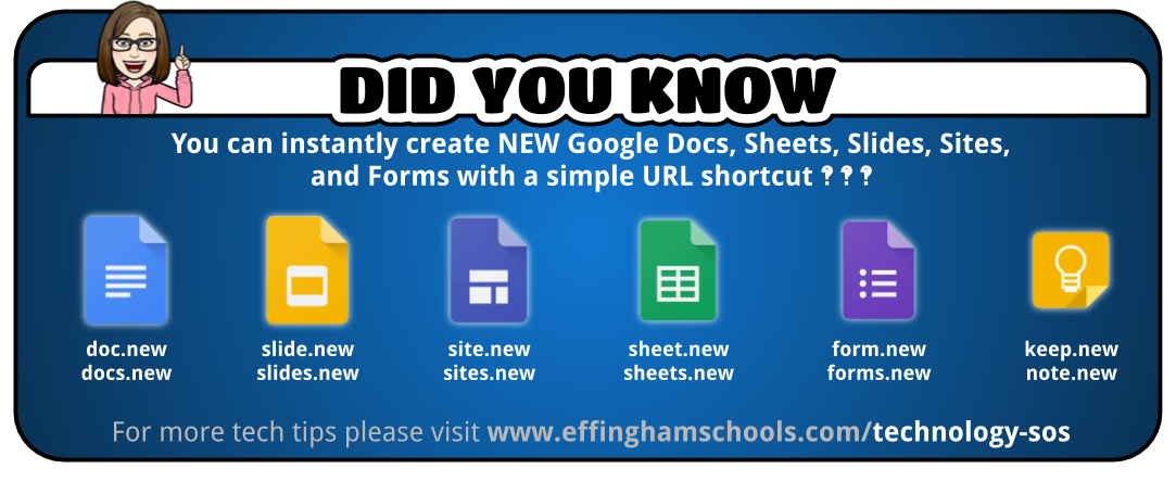did you know you can instantly create NEW Google Docs, Sheets, Slides, Sites, and Form with a simple URL shortcut