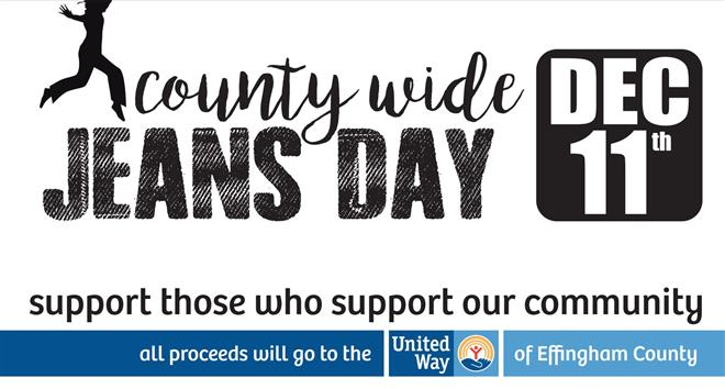 COUNTY WIDE JEANS DAY-DEC 11th, 2020 $1.00 Supports the United Way of Effingham County