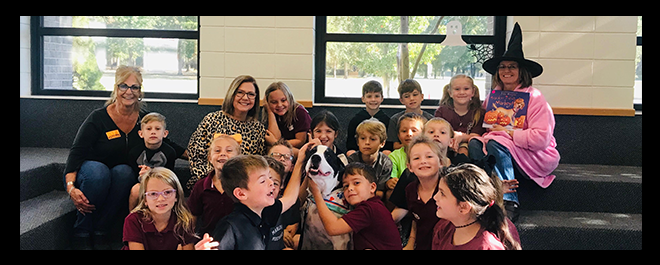 Toby the Therapy Dog Visits MES Students